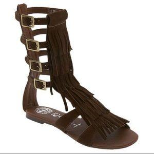 Jeffery Campbell fringe gladiator sandal